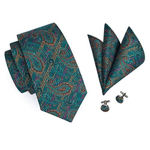 FDHFC Paisley Krawatte Grün Seide Jacquard GewebtKrawatten Manschettenknöpfe Set Männer Geschenkbox Krawatten 8,5 cm Breite