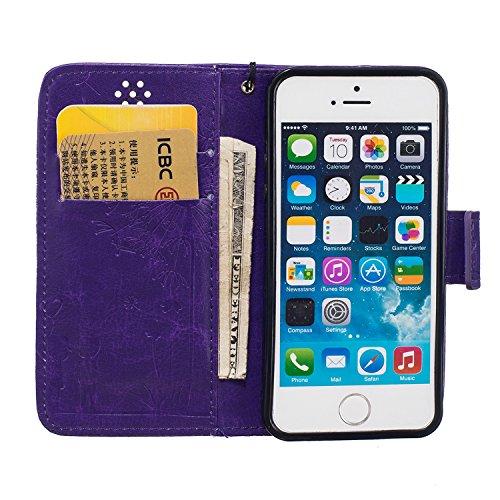 iPhone SE Coque fine, iPhone 5S clair TPU Coque, iPhone 5Coque en silicone, iPhone SE Newstar fin à coque souple en TPU pour Apple iPhone 5S, papillon belle fleur Fée Ange Fille Imprimé Motif coloré  Dandelion Purple