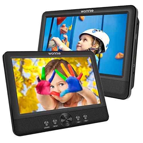 """WONNIE 2 Reproductor de DVD Portátil para Coche, con 10.5"""" Doble Pantallas para Niños Viaje 5 Horas Batería Recargable Compatible con Tarjeta SD y USB con 2 Mando a Distancias"""