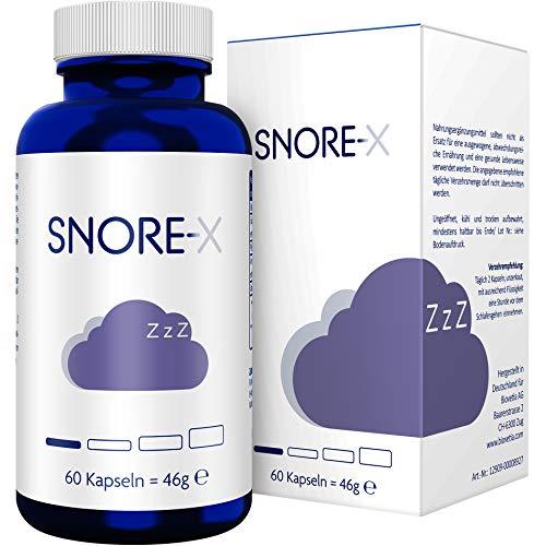 Schlaf-hilfe-spray (SNORE-X Anti Schnarch Kapseln gegen Schnarchen, pflanzlicher Schnarchen Stopper, endlich frei Atmen und ruhig Schlafen, 60 Kapseln)