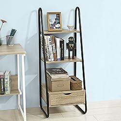 SoBuy® FRG219-N Bibliothèque Étagère Style échelle de 3 Niveaux et 1 tiroir Structure en métal -L44cmxP36cmxH115cm