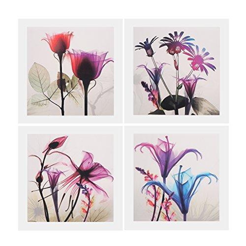 Baoblaze 4 pannelli quadri dipinto ad olio tela decorazione immagine arte fiore colorato