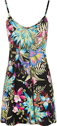 WearAll - Damen Blumendruck-Riemchen Ärmelloses Schwingenkleid lange Oberseite - 1 Farben - Größe 44-54 Grün