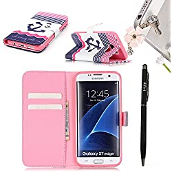 Funda Samsung S7 Edge Cáscara Samsung Galaxy S7 Edge, Alfort Casco de Protección PU Cuero Sintético Cierre Magnético Carcasa del teléfono con una función de soporte y la cartera Material de la PU de alta calidad Suave ( Ancla )