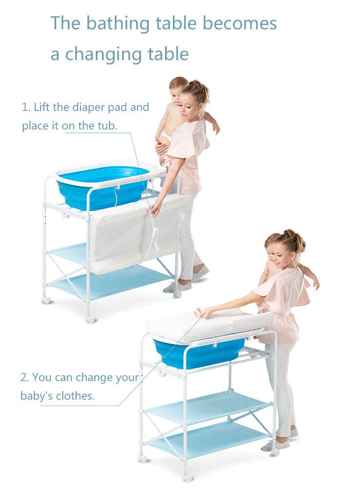 Baby Changing Table Foldable Bathing Station with Pad, Newborn Care Station Table Height Adjustable for Infant- Blue GUYUE Two in one design- Baby changing table can be used as baby massaging table as well or dry your baby's small clothes, also can bathing. Iron tube paint + plastic + polyester mesh. Size- As shown, 85x50x100~130cm Folding size- 85x24x112.5~132.5cm (1cm=0.39 inch) Suitable for babies 0~2 years old. 4
