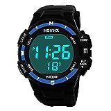 Promotionen PLOT Unisex Armbanduhr,2018 Neu Digitale LED Sportuhr mit Wecker Outdoor Laufen für Herren Damen Wasserdichte Schwimmen Intelligente Uhr (Blau)
