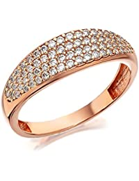 6b9b0ae02 F. Hinds Womens Ladies Jewellery 9ct Rose Gold Cubic Zirconia Band Ring