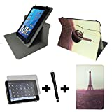 3er Starter Set für Aldi - MEDION LIFETAB X10302 MD 60347 Tablet PC Tasche + Stylus Pen + Schutzfolie - 10.1 Zoll Paris Sonnenuntergang 360_