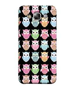 PrintVisa Designer Back Case Cover for Samsung Galaxy E7 (2015) :: Samsung Galaxy E7 Duos :: Samsung Galaxy E7 E7000 E7009 E700F E700F/Ds E700H E700H/Dd E700H/Ds E700M E700M/Ds (Animal Cartoon Owl Group Bird Sequence )