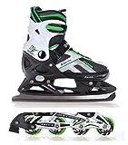 Raven 2in1 Schlittschuhe Inline Skates Inliner Pulse Black/Green verstellbar Größe: 40-43
