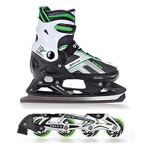 Raven 2in1 Schlittschuhe Inline Skates Inliner Pulse Black/Green verstellbar