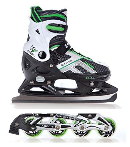 2in1 Schlittschuhe Inline Skates Inliner Raven Pulse Black/Green verstellbar Größe: 37-40
