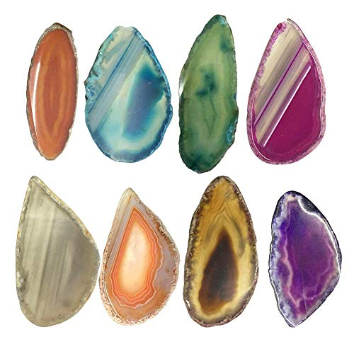 asterisknewly 10 Stück gebohrt unregelmäßigen Achat Quarz Scheibe Anhänger Schmuck Charms gebohrt Geode Scheibe Kristalle und Edelsteine   zum Heilen -