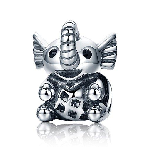Baby Elefant 925 Sterling Silber Baby Elefant & offene Schraube Tier Perlen passend für Charm-Armband für Damen Schmuck SCC202