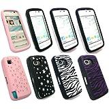 Emartbuy ® Nokia 5230 Bundle Pack 4 Silicon Skin Cover / Case - Schwarz Stars, Rosa Stars, Zebra Schwarz Weiß & Lila Zebra