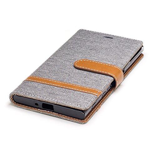Custodia Xperia XZ, ISAKEN Flip Cover per Sony Xperia XZ/XZS con Strap, Elegante Bookstyle Contrasto Collare PU Pelle Case Cover Protettiva Flip Portafoglio Custodia Protezione Caso con Supporto di St Marrone+grigio