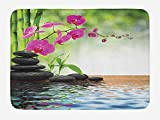 Spa Bath Mat, Composition Bamboo Tree Floor Mat Orchid Stones Wellness Greenery, Plush Bathroom Decor Mat with Non Slip Backing, 23.6 W X 15.7 W Inches, Fuchsia Charcoal Grey Lime Green