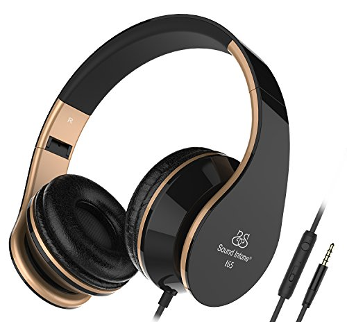 Sound Intone I65 pieghevole delle cuffie con 3.5mm audio cavo, leggero Over-orecchio AURICOLARE con controllo del volume in linea e microfono per PC / Iphone / Ipad / Samsung / Android (Nero/Oro)