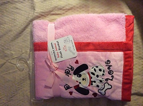 reversible-sherpa-baby-animal-plush-blanket-dalmatian-pink-red-by-sl-baby-collection