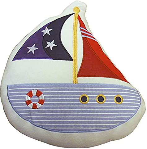 Nautical Shaped Filled Cushion, Ship Sails, White, Blue, Red 37cm