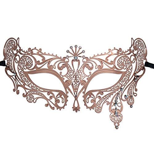 Erstaunliche Paare Kostüm - Thmyo Halloween Maske Maske Laser geschnittene Metall Damen Maskerade Maske venezianische Maske (Roségold 2)