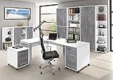 Arbeitszimmer Büromöbel MAJA SYSTEM 1297 Komplettset in Steingrau / Weiß Made in Germany