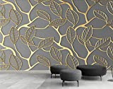 Fototapete Vlies Tapete 3D wallpaper Wanddeko Design Moderne Anpassbare Wandbilder Golden Leaf Tv Hintergrund Mauer
