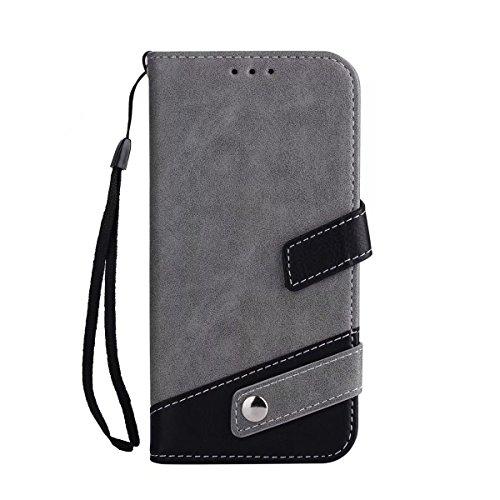 Bookstyle Horizontale Flip Stand Case Litchi Texture Dual Farbe genäht PU Leder Tasche mit Lanyard & Niet Button für Samsung Galaxy S7 Edge ( Color : Red ) Gray