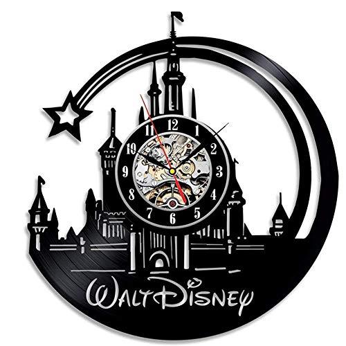 Horloge Murale Disque Vinyle Horloge Disney Castle Design Horloge Murale Déco Vintage Salle Famille Décoration Diamètre 30 cm