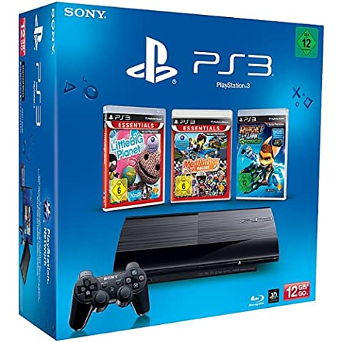 SONY PlayStation 3 (12 GB) inklusive 3 Spiele (LittleBig Planet Essentials, ModNation Essentials, Ratchet & Clank: Q-Force)