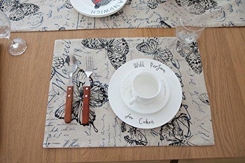 n, Platzset/ Tischsets, Rechteck Baumwolle und Leinen Stoff Platz Matte, Doppelseitig Bedruckt Täglichen Grund Platzdeckchen 45x33cm (8er-Set, Schmetterling) (Thanksgiving-papier, Geschirr)