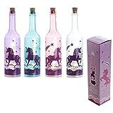 Pukator Rosa Mística Unicornio Colores Decorativa Botella de Cristal con LED Luces en Forma de Estrella