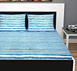 Divine Casa Evan 144 TC Cotton Double Bedsheet with 2 Pillow Covers - Striped, Sky Blue and White