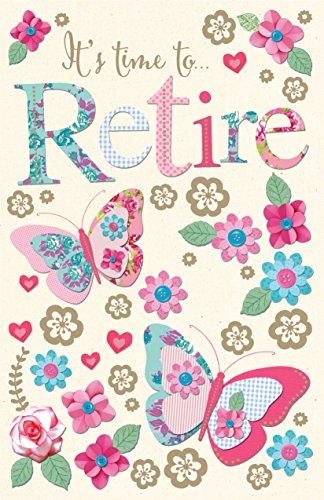 ES el momento de jubilación diseño de mariposa y diseño de la flor Fabrique tarjeta de felicitación de jubilación