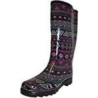 Mudrock Ladies Welly,Festival,Rain,Snow Aztec Print Wellies Wellington Boots