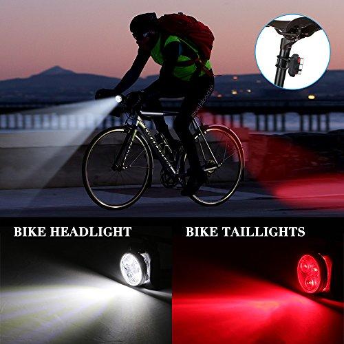Fahrradlicht LED Set, Furado Fahrradlicht Fahrradbeleuchtung, Wasserdicht LED Fahrradlampenset, USB Wiederaufladbare Frontlicht und Rücklicht mit 4 Licht-Modus & 2 USB Kabel für Fahrrad Radfahren - 2