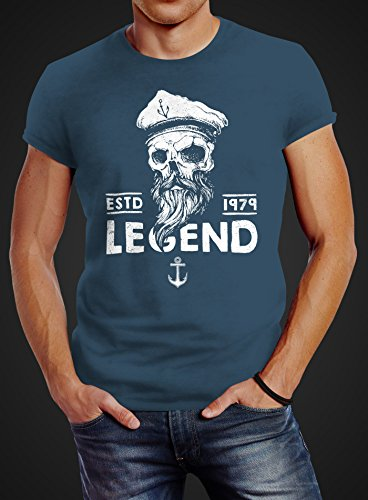 Neverless Herren T-Shirt Skull Captain Legend Totenkopf Bart Kapitän Slim Fit Captain denim blue