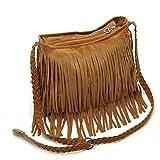 Frauen Handtasche Troddelbeutel Umhängetasche Schultertasche Messenger Tote Shoulder Bag Fringe