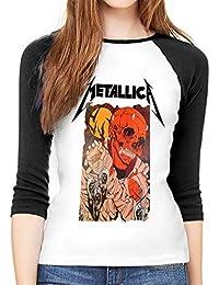 Camisa de Manga Larga para Mujer, de AlbertV Metallica, Cuello Redondo, Camiseta de béisbol, Blusa