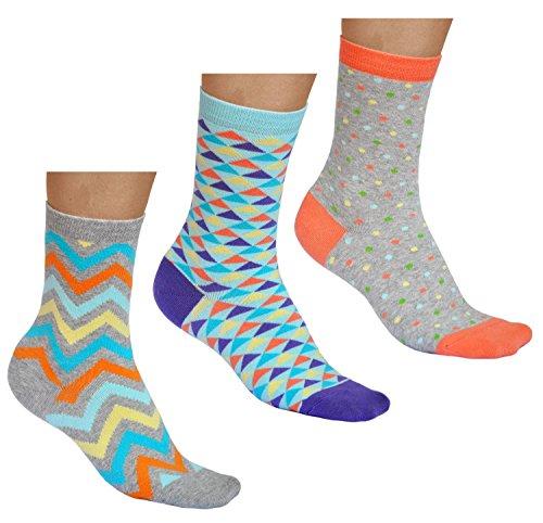 vitsocks Bunte Damen Socken mit Muster (3x Pack) aus BAUMWOLLE, Dreiecke Punke Wellen, JOY, 35-38
