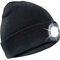 Thinsulate Warm Bright LED Lit Beanie Cap Unisex Hat with Rechargeable Front Facing Headlamp with 4 LEDs Shining with A 3 Metre Beam, Charges Via USB - Great for Cycling, Running, Camping, Car Repair