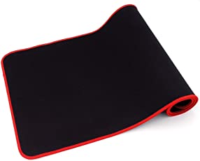 Protokart Long Extended Mouse Pad Mousepad With Nonslip Base, Thick, Comfy, Waterproof & Foldable Mat For Desktop, Laptop, Keyboard, Consoles & More, (Black) (610 x 304 x 4 mm) (24 x 12 Inch) (Red Border)