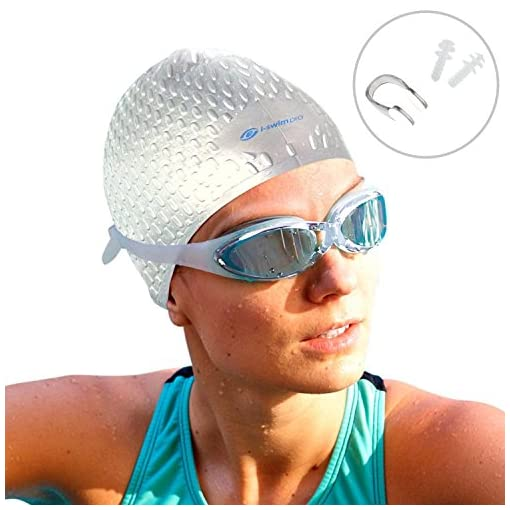 310f98442477 i-Swim – Cuffia da nuoto professionale, impermeabile, per tutti i tipi di  capelli, non si sposta, comoda, in solido silicone, da uomo, donna e  ragazzi + ...