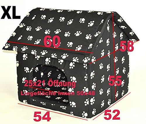 nanook Hundehöhle Chalet Black, Schwarz mit Pfoten - 3