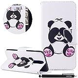 HUDDU Bunt Schutzhülle Hülle Schöner Panda Muster Slim Handyhülle Leder Tasche Wallet Case Cover Flip Kartenfach Magnetic Stand für Huawei Mate 10 Lite Klapphülle Weiß
