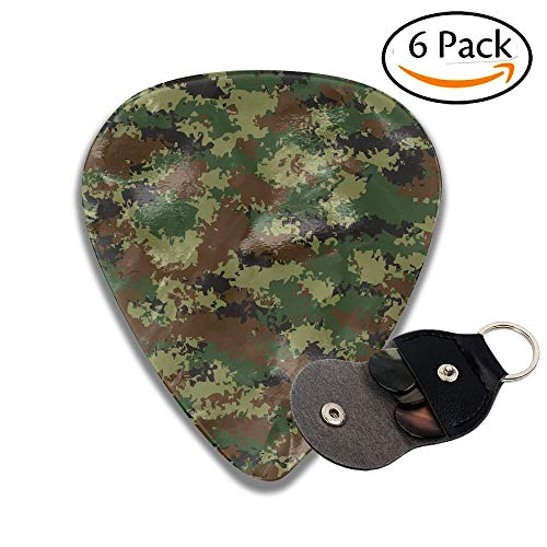 Wxf Camouflage Summer Theme Armed Forces Uniform Inspired Dark Green Pale Green Brown Stylish Celluloid Guitar Picks Plectrums For Guitar Bass 6 Pack.46mm