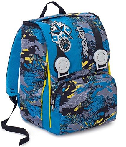 Zaino scuola estensibile seven , alary , camouflage blu , 28 lt , elementari e medie