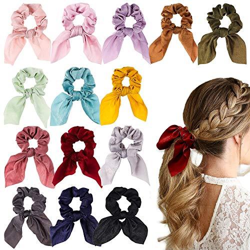 WATINC 14 Stücke Bowknot Haargummis Superweiche Seidenschal Haargummis 2 in 1 Design Solid Colors Haargummis Pferdeschwanz Halter mit Bögen Haarschmuck Seile für Frauen Haar Scrunchies