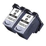 Karl Aiken 2x Noir PG-40 CL-41 Cartouches d'encre compatible avec Canon Pixma iP1200 iP1300 iP1600 iP1700 iP1800 iP1900 iP2200 iP2400 iP2500 iP2600 MP140 MP150 MP160 MP170 MP180 MP190 MP210 MP220 MP450 MP460 MP470 MX300 MX310 Imprimante