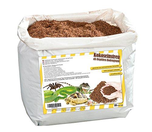 20 Liter natürliches Terrariensubstrat lose im Beutel- trocken und streufähig - 100% reine Kokoserde als Kokoseinstreu Bodengrund Kokossubstrat